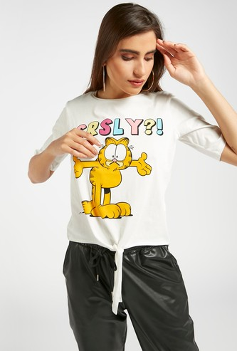 Garfield Print Round Neck T-shirt with Front Knot and Short Sleeves