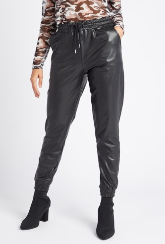 Solid High Rise Jog Pants with Pockets and Drawstring