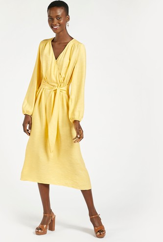 Solid Surplice Neck A-line Midi Dress with Long Sleeves