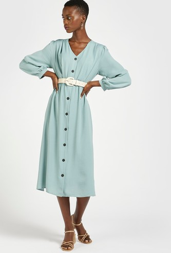 Solid V-neck Dress with Long Sleeves and Button Closure
