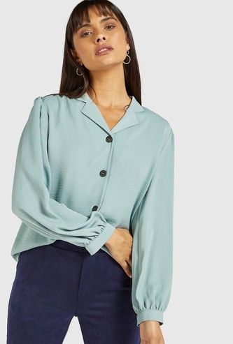 Solid Shirt with Notch Spread Collar and Long Sleeves