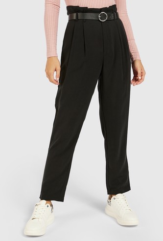 Solid High-Rise Pants with Paperbag Waist and Belt