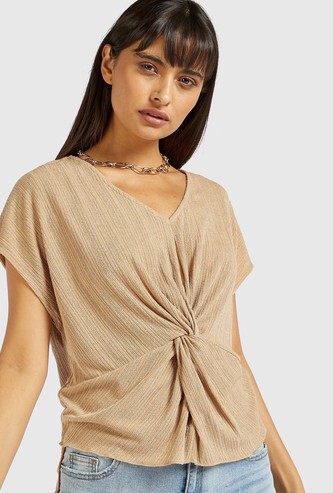 Textured Draped Twisted Top with V-neck and Short Sleeves