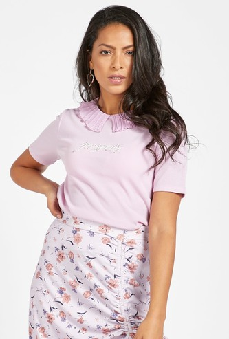 Textured T-shirt with Pleated Collar and Short Sleeves