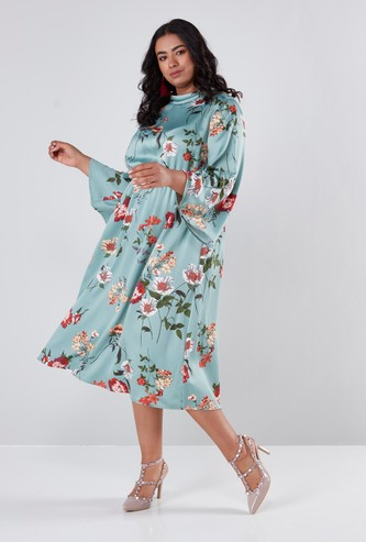 Floral Printed Midi Dress with Flared Sleeves