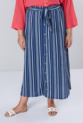 Striped Maxi Skirt with Button Detail and Tie-Up Belt