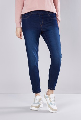 Mid-Rise Plain Jeggings with Belt Loops and Pockets