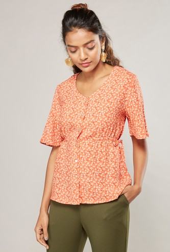 Printed Top with Short Sleeves and Side Tie Ups