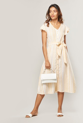 Striped Midi Shirt Dress with V-neck and Cap Sleeves