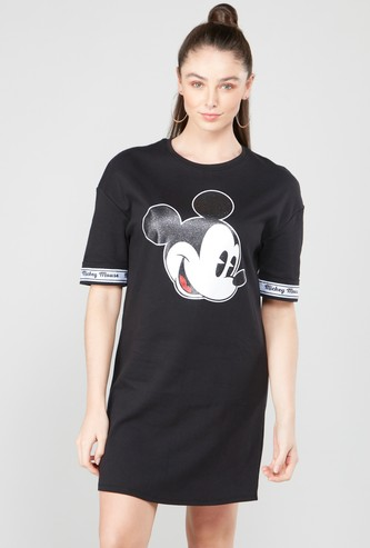 Mickey Mouse Graphic Printed Mini Shift Dress with Short Sleeves