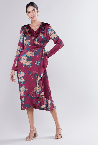 Printed Asymmetric Midi Wrap Dress with Long Sleeves