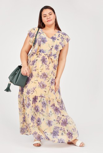 Floral Print Sleeveless Maxi Dress with Ruffle Detail