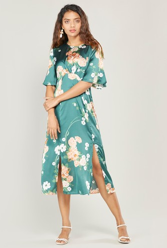 Floral Print Midi A-line Dress with Round Neck and Short Sleeves