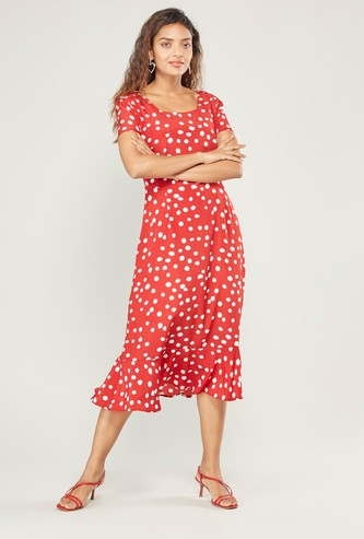 Dotted Midi A-line Dress with Square Neck and Ruffled Hem