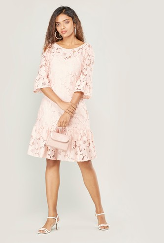 Lace Midi A-line Dress with 3/4 Sleeves