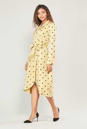 Polka Dot Print Shirt Midi Dress with Long Sleeves and Tie Ups