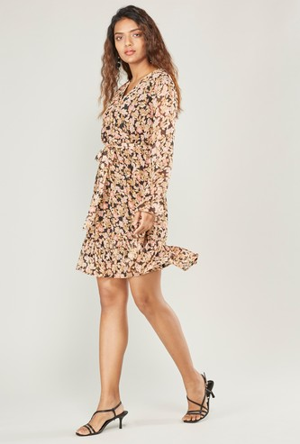 Floral Print Mini Wrap Dress with Long Sleeves and Waist Tie-Up