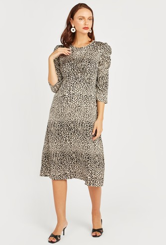 Animal Print A-line Midi Dress with 3/4 Sleeves