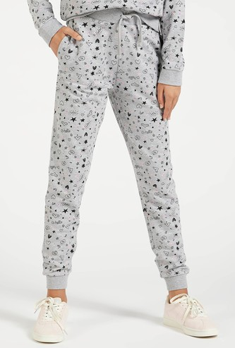 All-Over Doodle Print Jog Pants with Pockets and Drawstring Closure