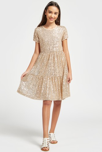 Sequin Embellished Round Neck Dress with Short Sleeves