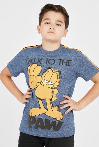 Garfield Print T-shirt with Short Sleeves