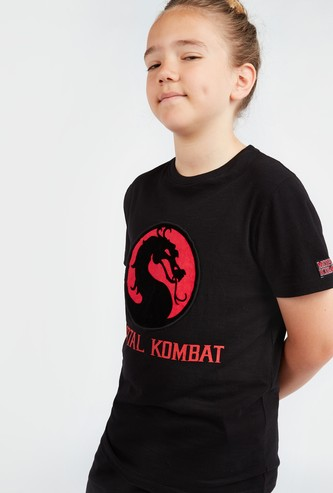 Mortal Kombat Print Round Neck T-shirt with Short Sleeves