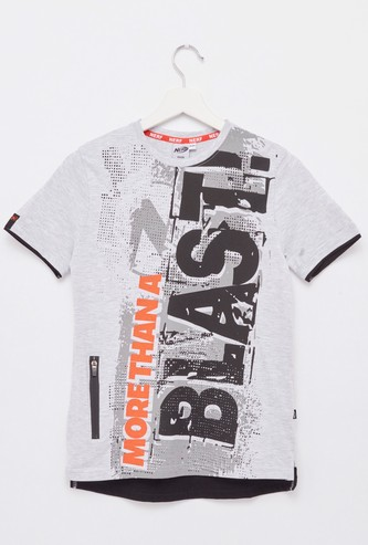 Nerf Print T-shirt with Round Neck and Short Sleeves