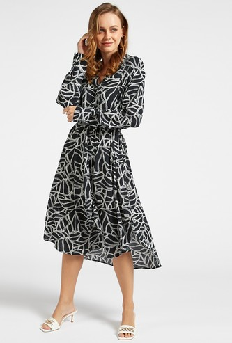All-Over Print Midi Asymmetric Dress with Long Sleeves and Side Slit