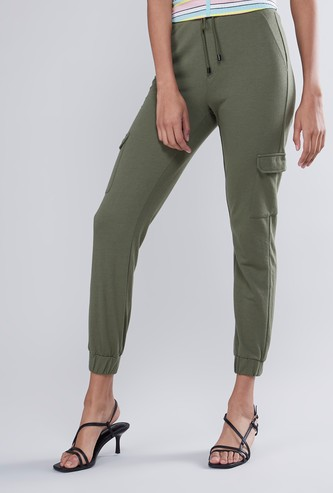 Plain Mid Waist Cargo Pants with Elasticised Waistband and Pockets