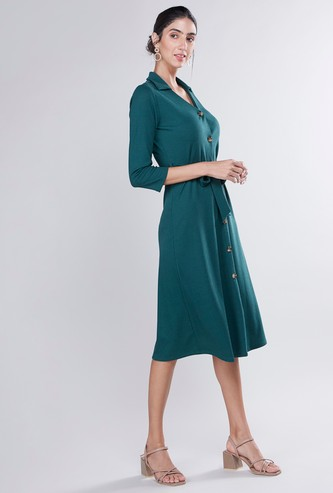 Plain Midi A-line Shirt Dress with 3/4 Sleeves and Tie Ups