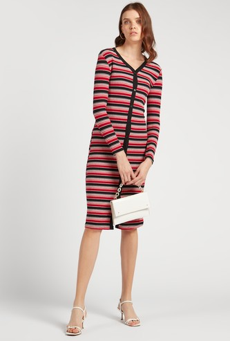Striped V-Neck Midi Length Bodycon Dress with Long Sleeves
