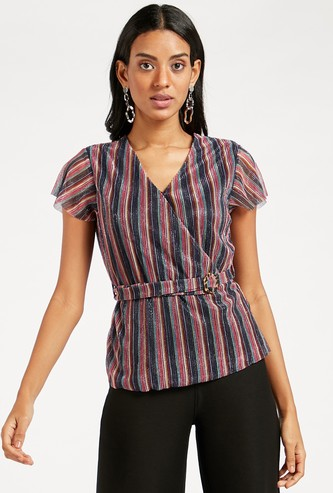 Striped V-Neck Wrap Top with Short Sleeves and Buckle Belt Styling