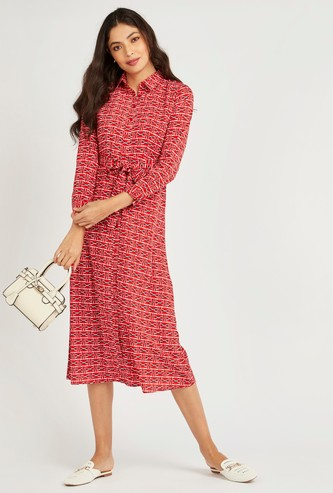 Printed Midi A-line Shirt Dress with Long Sleeves and Tie Ups