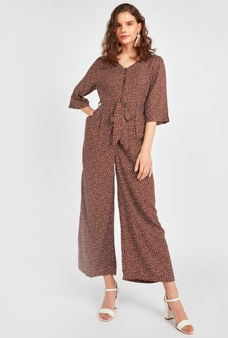 Printed Jumpsuit with V-neck and Pocket Detail