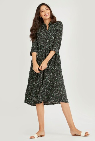 Floral Print Collared Dress with 3/4 Sleeves