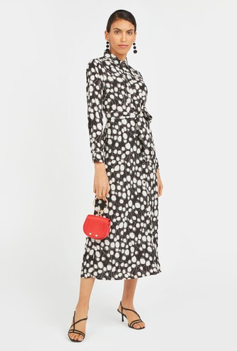 Printed Collared Midi Shirt Dress with Long Sleeves and Tie-Up Detail
