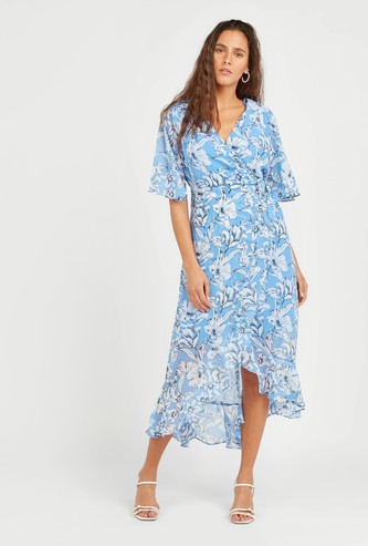 Floral Printed Midi A-line Wrap Dress with Flared Sleeves
