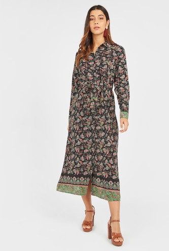 Printed Midi Shirt Dress with Long Sleeves and Tie Ups