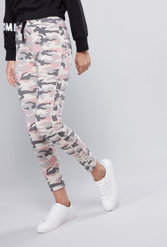 Printed Mid-Rise Jog Pants with Elasticised Waistband and Drawstring