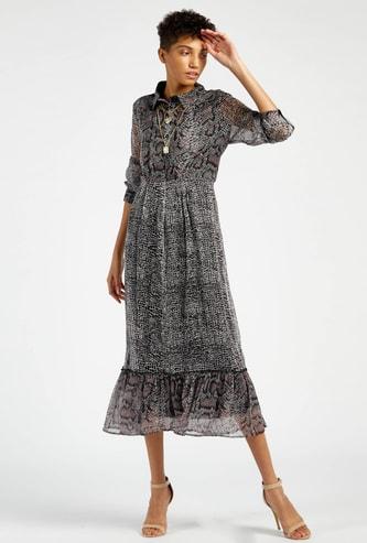 فستان ميدي متعدد الطبقات بياقة عادية وطبعات حيوانات