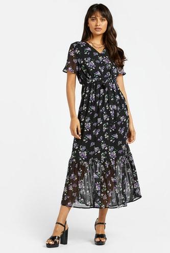فستان ميدي ملفوف إيه لاين متعدد الطبقات بياقة V وطبعات زهور