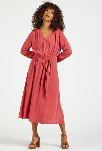 Solid Midi A-line Wrap Dress with Bishop Sleeves and Tie-Ups