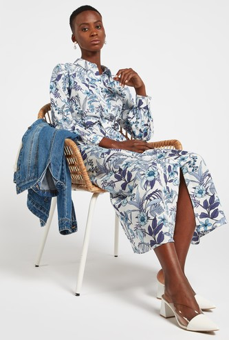 All-Over Floral Print Maxi Shirt Dress with Long Sleeves
