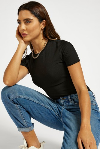 Solid Bodysuit with Round Neck and Short Sleeves