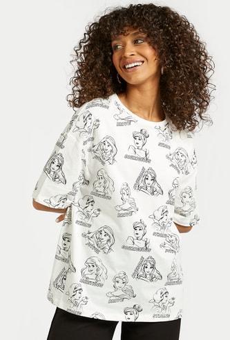 Disney Princess Graphic Print Longline T-shirt with Short Sleeves