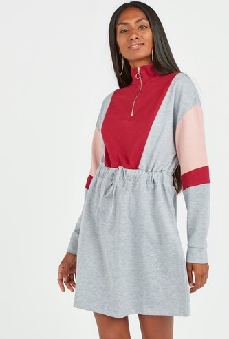 Colour Block Mini A-line Dress with High Neck and Drawstring