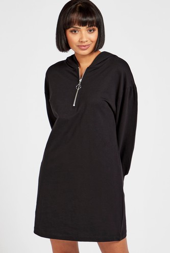 Solid Mini Shift Dress with Long Sleeves and Hood