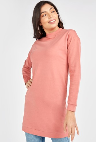 Textured Sweat Top with High Neck and Long Sleeves