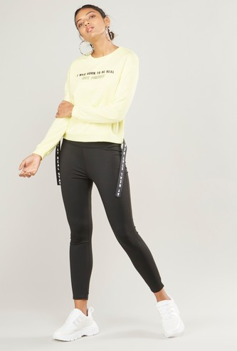 Printed Round Neck Sweat Top with Drop Down Long Sleeves and Tape Tags