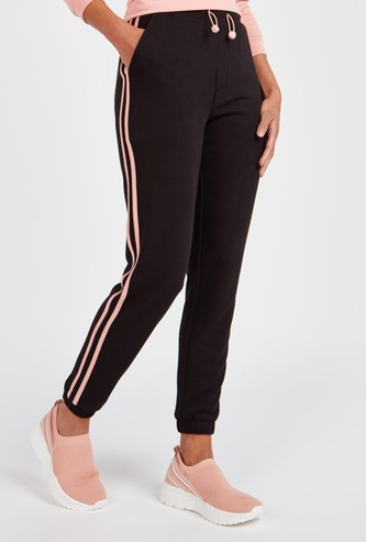 Solid Mid-Rise Jog Pants with Pocket Detail and Drawstring